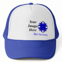 Blue Clover Ribbon Template by Kenneth Yoncich Trucker Hat