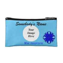 Blue Clover Ribbon Template Cosmetic Bag