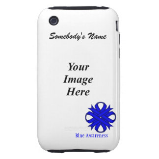 Blue Clover Ribbon Template iPhone 3 Tough Covers