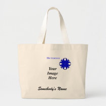 Blue Clover Ribbon Template Large Tote Bag