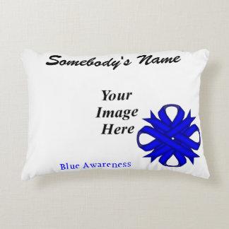 Blue Clover Ribbon Template Accent Pillow