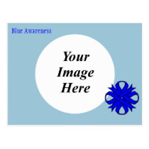 Blue Clover Ribbon Template Postcard