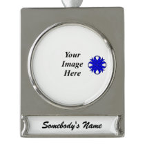 Blue Clover Ribbon Template Silver Plated Banner Ornament