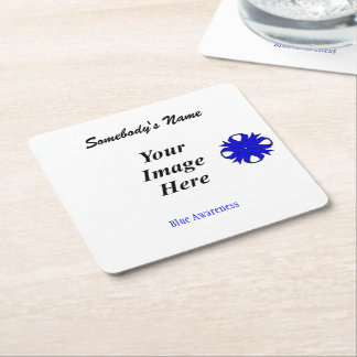Blue Clover Ribbon Template Square Paper Coaster