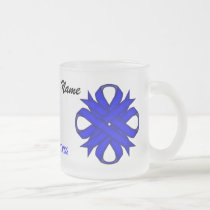 Blue Clover Ribbon Tmpl by Kenneth Yoncich Frosted Glass Coffee Mug