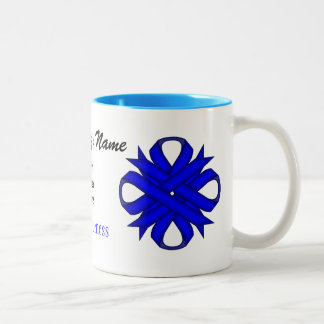 Blue Clover Ribbon Tmpl by Kenneth Yoncich Two-Tone Coffee Mug