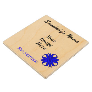 Blue Clover Ribbon Tmpl by Kenneth Yoncich Wood Coaster