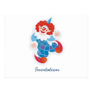 blue clown postcard