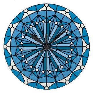 Blue Coastal Decor Stained Glass Wall Clock
