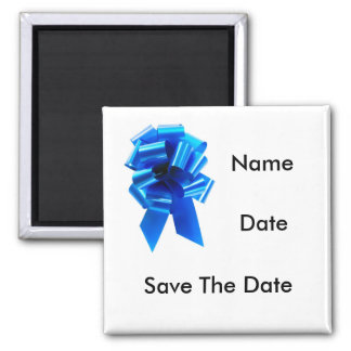 Blue Cockade Newborn Save The Date Template Magnet