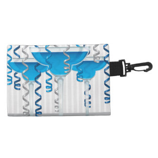 Blue cocktail and ribbon accessory bag
