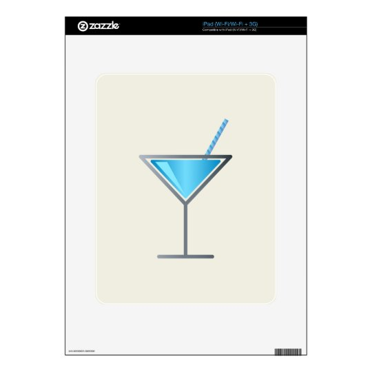 Blue Cocktail Martini Glass Skins For The iPad
