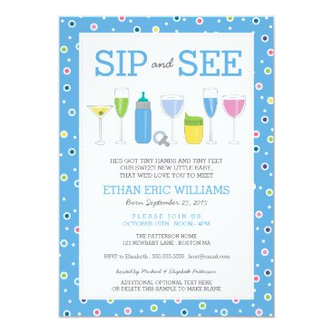 Toddler & Baby themed Blue Cocktail New Baby Boy Sip and See Invitation