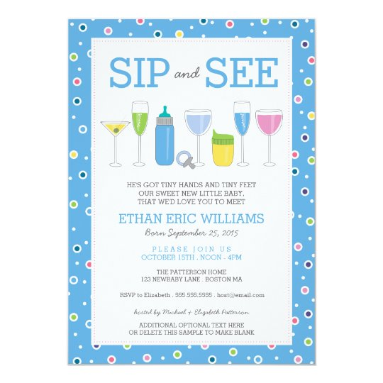 Blue cocktail new baby boy sip and see invitation zazzle blue cocktail new baby boy sip and see invitation stopboris Image collections