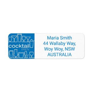 Blue cocktail party label