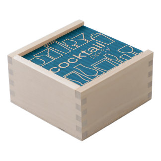 Blue cocktail party wooden keepsake box