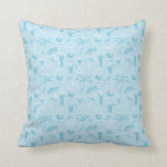Blue Cocktails and Palm Trees Pattern Throw Pillow