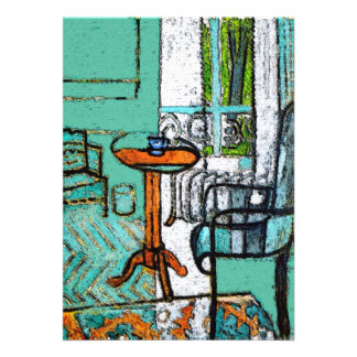 Blue Coffee Cup, Matisse Style Personalized Announcements