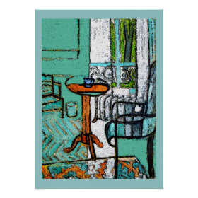 Blue Coffee Cup, Matisse Style Print
