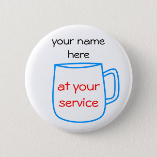 Blue coffee cup name tag button