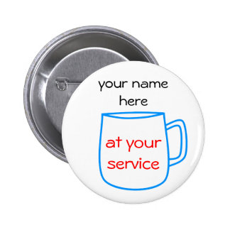 Blue coffee cup name tag pinback button