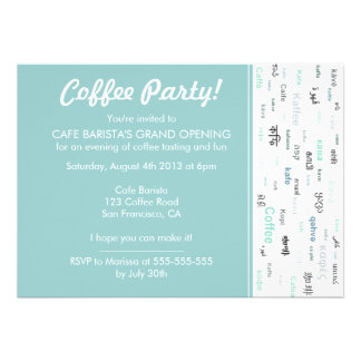 Blue Coffee store/ cafe shop opening invitations