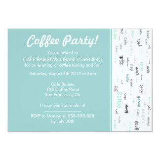 Store opening invitations announcements zazzle blue coffee store cafe shop opening invitations stopboris Gallery