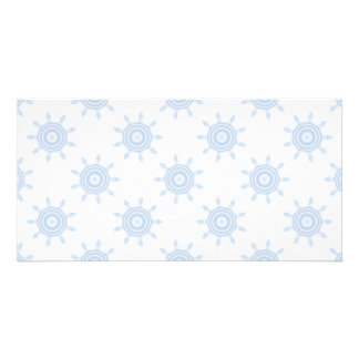 Blue Cog Wheels. Fractal Circles Pattern. Photo Cards