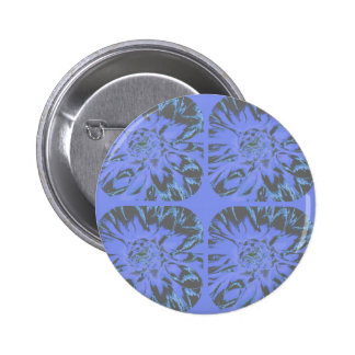 Blue Collage Dahlia Flower Pattern Pinback Button