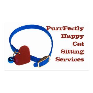 Blue Collar, Red Heart Cat Love Business Card Templates