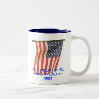BLUE   COLLAR    WORLDHONESTY-QUALITY-PRIDE Two-Tone COFFEE MUG