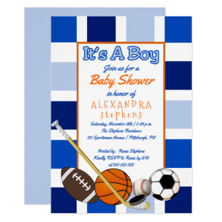 Blue Color Block Sports It's a Boy Baby Shower Card