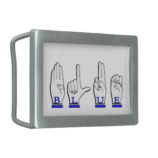 BLUE COLOR FINGERSPELLED ASL BELT BUCKLE
