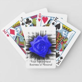 Blue color rose against black burst frame bicycle playing cards
