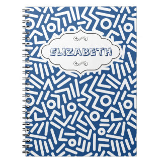 Blue Color seamles monogram Pattern notebook