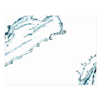 Blue color water splash postcard