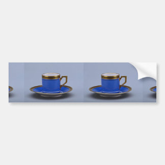 Blue colored 20th century coffee cup and saucer bumper sticker