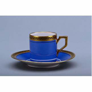 Blue colored 20th century coffee cup and saucer standing photo sculpture