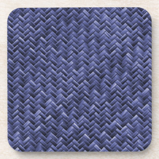 Blue Colored Basket weave Pattern Beverage Coaster