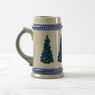 Blue Colored Christmas Tree Stein