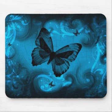 nonstopshop blue colorful butterfly vector art mouse pad