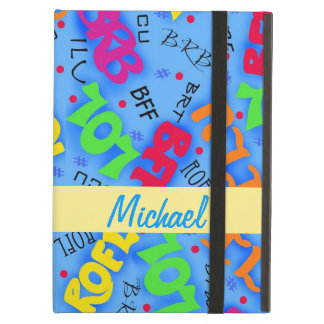 Blue Colorful Electronic Texting Art Abbreviation Case For iPad Air