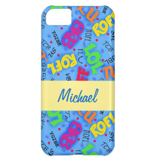 Blue Colorful Electronic Texting Art Abbreviation Case For iPhone 5C