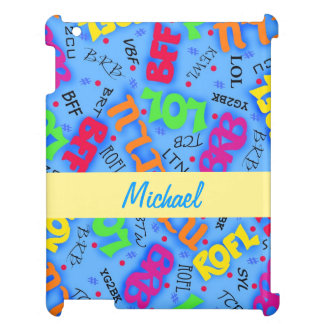 Blue Colorful Electronic Texting Art Abbreviation Cover For The iPad 2 3 4