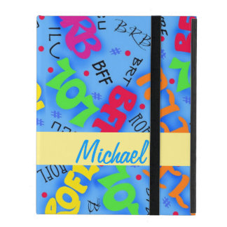 Blue Colorful Electronic Texting Art Abbreviation iPad Folio Case