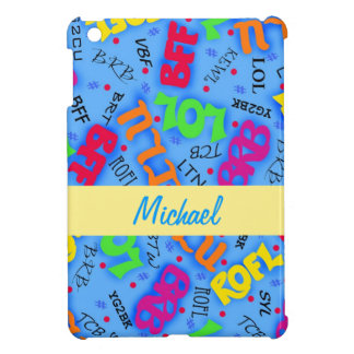 Blue Colorful Electronic Texting Art Abbreviation iPad Mini Case