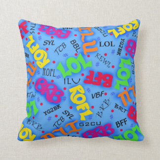 Blue Colorful Electronic Texting Art Abbreviation Throw Pillow