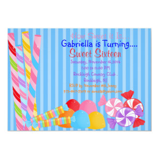 """Blue Colorful Lots of Candy Sweet 16 Invitation 5"""" X 7"""" Invitation Card"""