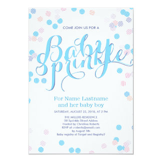 "Blue Colorful Modern Baby Sprinkle Invitation Boy 5"" X 7"" Invitation Card"