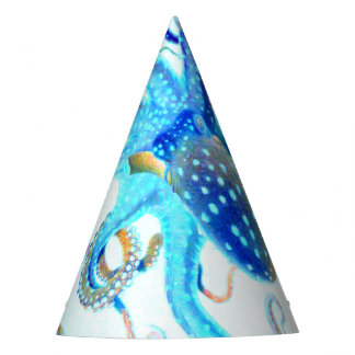 Blue colorful Octopus Party Hat